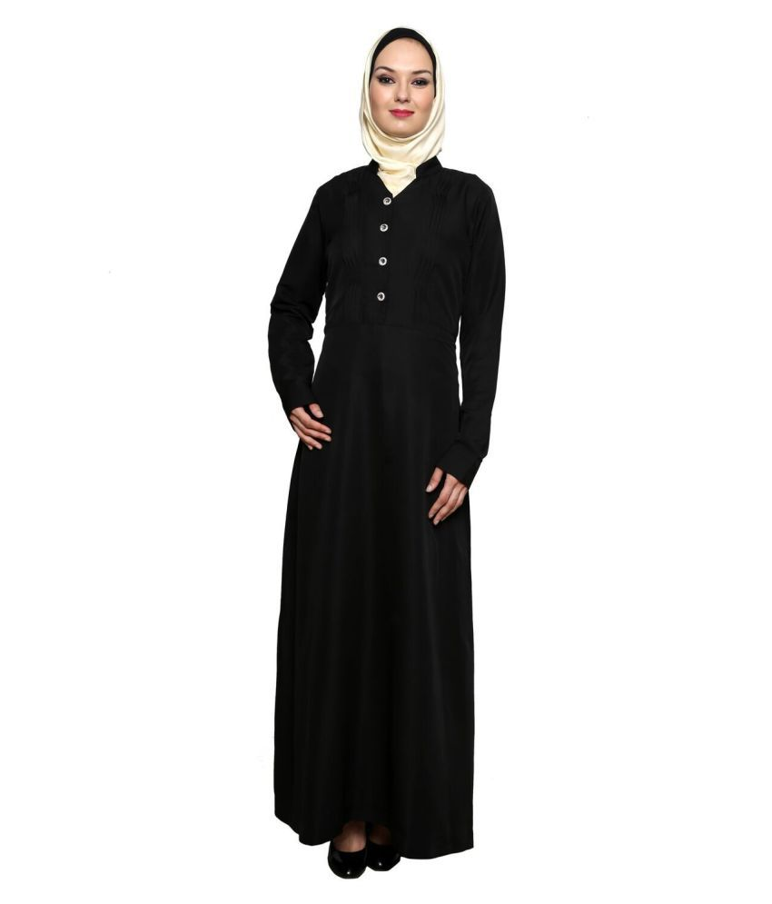 Momin Libas Black Crepe Stitched Burqas without Hijab