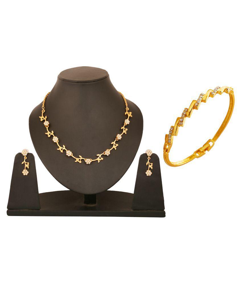 Touchstone Golden Necklace Set with Bracelet