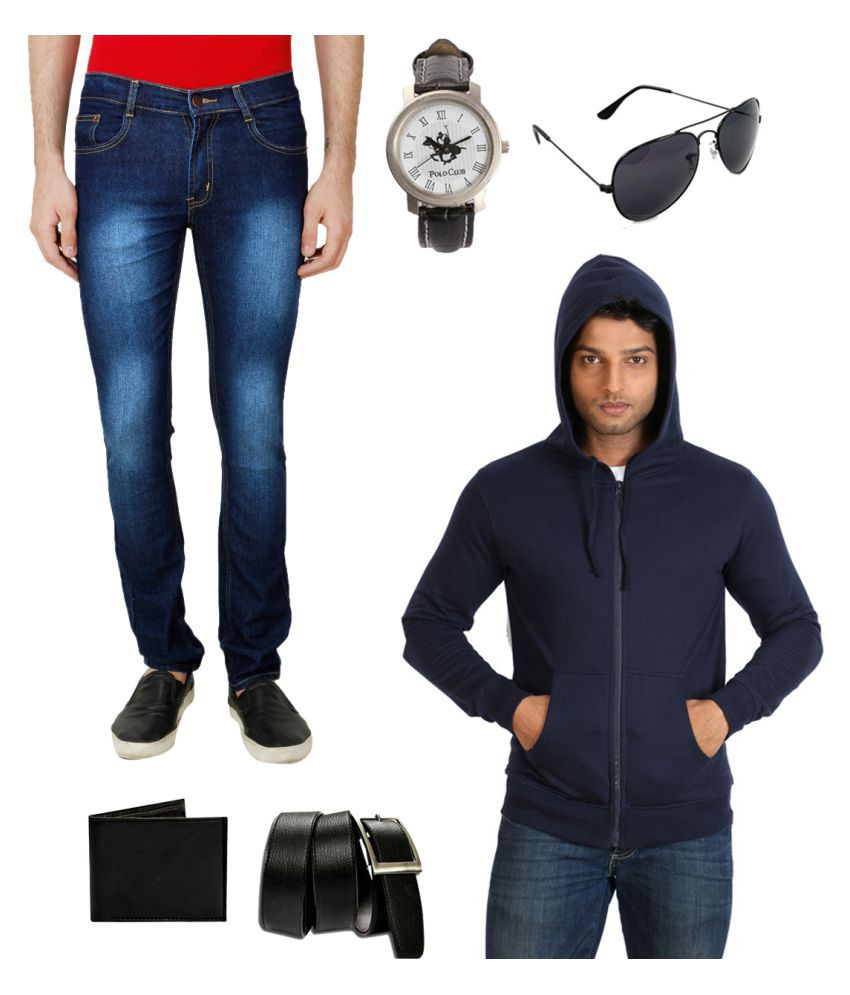 Ansh Fashion Wear Blue Slim Faded
