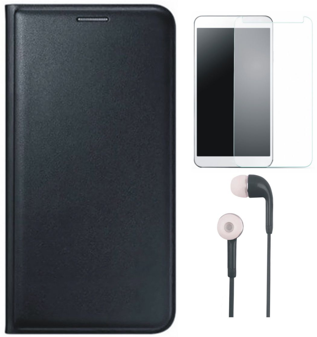 Matrix Leather Finish Flip Cover for Micromax Canvas Spark 2 Plus Q350 with Earphones and Tempered Glass