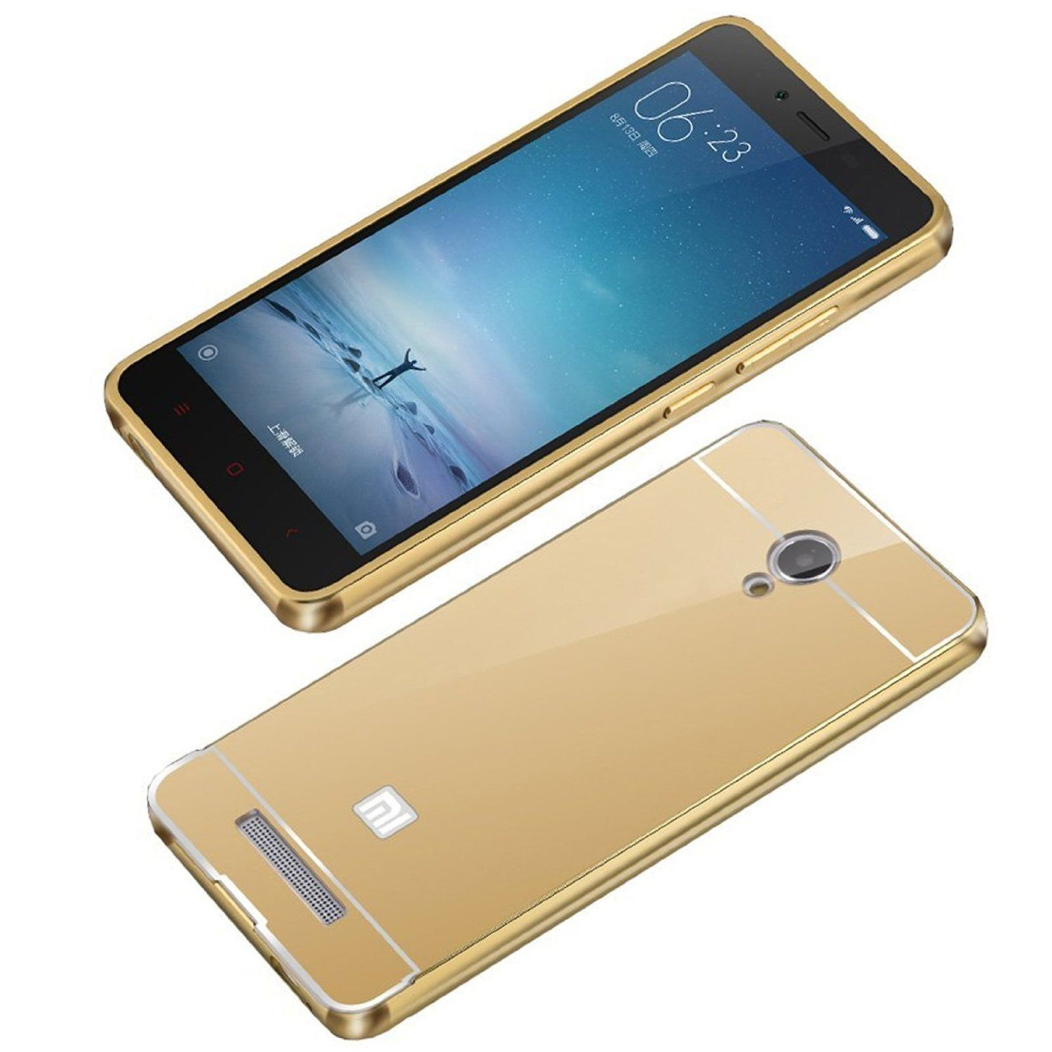 Style Crome Metal Bumper + Acrylic Mirror Back Cover Case For Redmi Note 3  Gold + Flexible Portable Thumb OK Stand