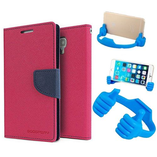 Wallet Flip Case Back Cover For Micromax A104-(Pink) + Flexible Portable Thumb Ok Stand Holder By Style Crome store