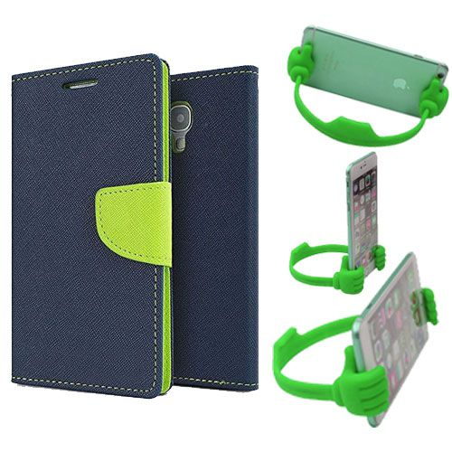 Wallet Flip Case Back Cover For HTC526-(Blue) + Flexible Portable Thumb Ok Stand Holder By Style Crome store