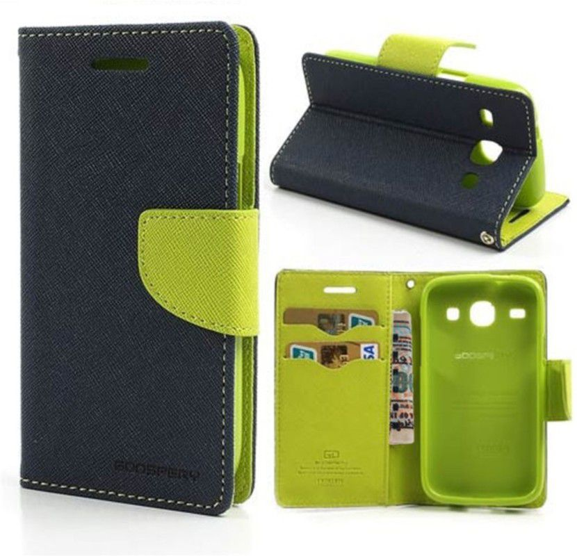Wallet Flip Case Back Cover For Samsung Z1-(Blue) + Flexible Portable Thumb Ok Stand Holder By Style Crome store