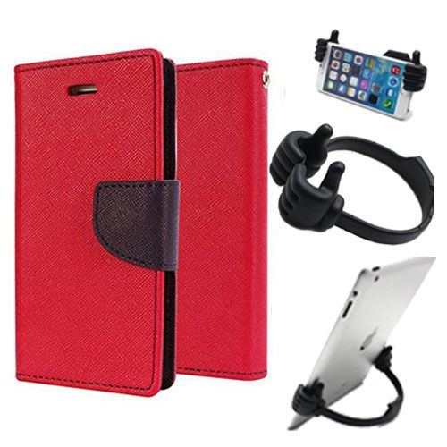 Wallet Flip Case Back Cover For Samsung A7-(Red) + Flexible Portable Thumb Ok Stand Holder By Style Crome store