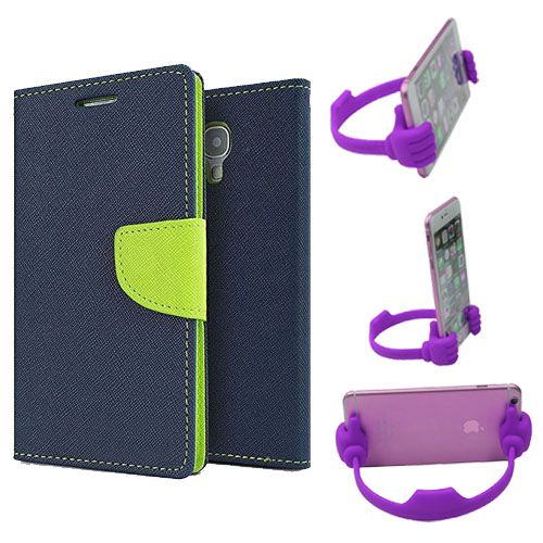 Wallet Flip Case Back Cover For Samsung G350-(Blue) + Flexible Portable Thumb Ok Stand Holder By Style Crome store