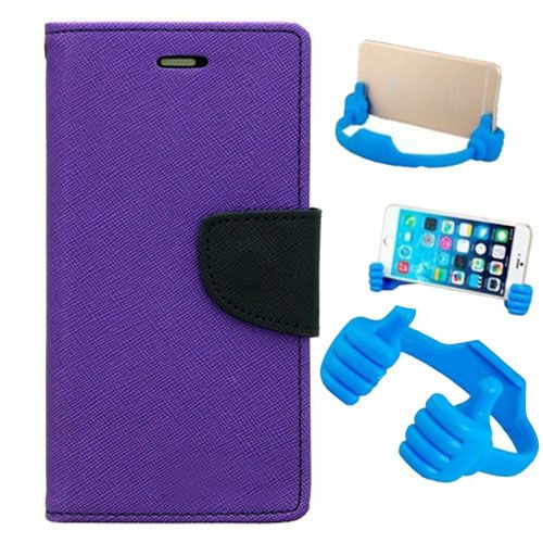 Wallet Flip Case Back Cover For Sony Xperia T3-(Purple) + Flexible Portable Thumb Ok Stand Holder By Style Crome store