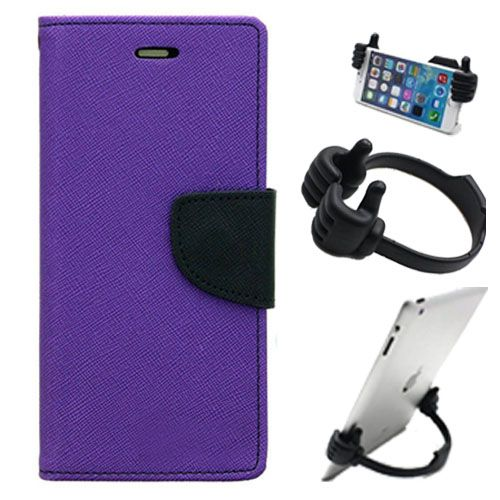 Wallet Flip Case Back Cover For Apple Iphone 6 Plus-(Purple) + Flexible Portable Thumb Ok Stand Holder By Style Crome store