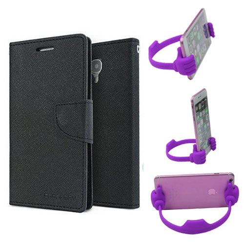 Wallet Flip Case Back Cover For Samsung ON5 -(Black) + Flexible Portable Thumb Ok Stand Holder By Style Crome store