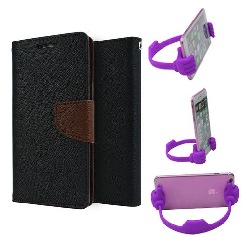 Wallet Flip Case Back Cover For Samsung J5-(Blackbrown) + Flexible Portable Thumb Ok Stand Holder By Style Crome store