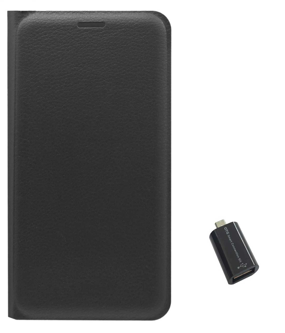 TBZ PU Leather Flip Cover Case for Redmi 3S with Micro USB OTG Adapter -Black