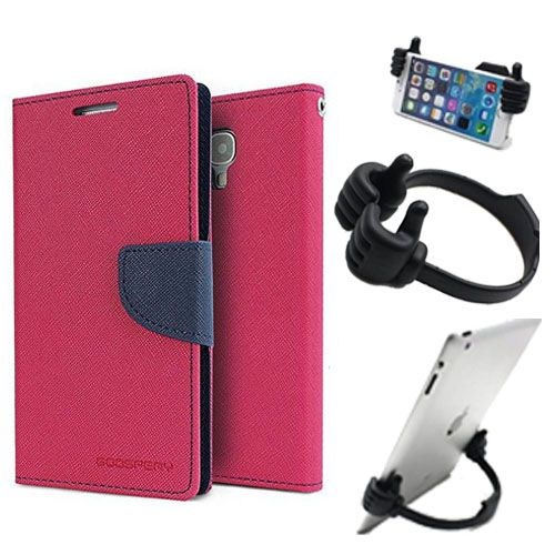 Wallet Flip Case Back Cover For Samsung E5-(Pink) + Flexible Portable Thumb Ok Stand Holder By Style Crome store