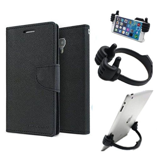 Wallet Flip Case Back Cover For Micromax E313 -(Black) + Flexible Portable Thumb Ok Stand Holder By Style Crome store