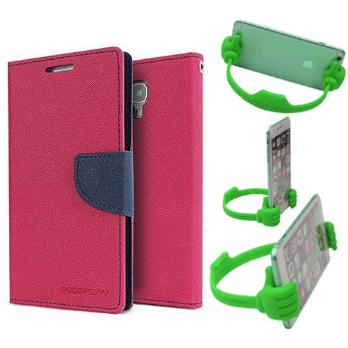 Wallet Flip Case Back Cover For Micromax A120-(Pink) + Flexible Portable Thumb Ok Stand Holder By Style Crome store