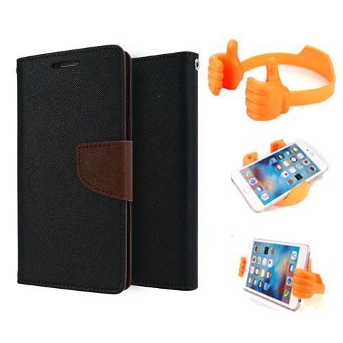 Wallet Flip Case Back Cover For Samsung A7-(Blackbrown) + Flexible Portable Thumb Ok Stand Holder By Style Crome store