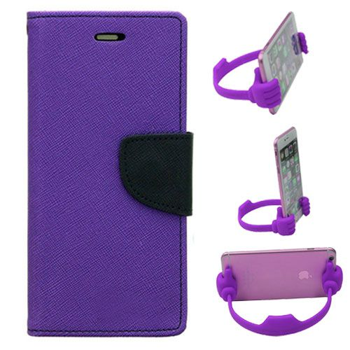 Wallet Flip Case Back Cover For Asus Zenfone 2-(Purple) + Flexible Portable Thumb Ok Stand Holder By Style Crome store
