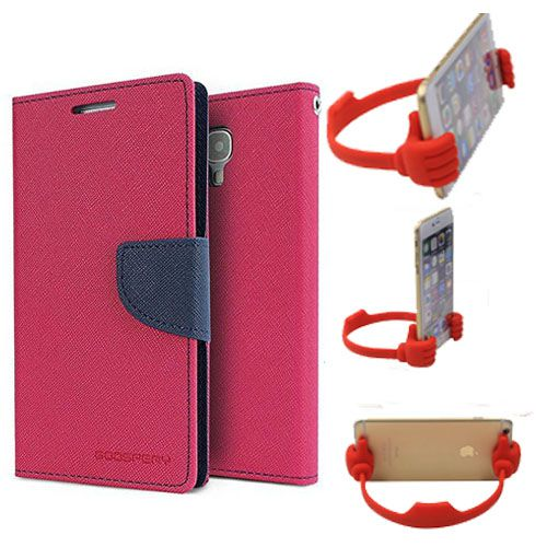 Wallet Flip Case Back Cover For Micromax A102-(Pink) + Flexible Portable Thumb Ok Stand Holder By Style Crome store