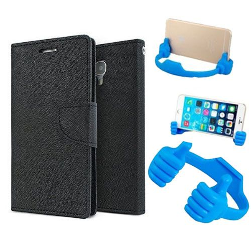 Wallet Flip Case Back Cover For Samsung S5 -(Black) + Flexible Portable Thumb Ok Stand Holder By Style Crome store