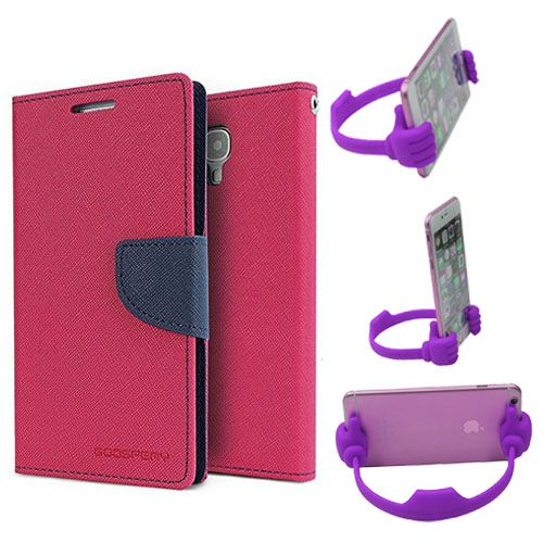 Wallet Flip Case Back Cover For Redmi Note-(Pink) + Flexible Portable Thumb Ok Stand Holder By Style Crome store
