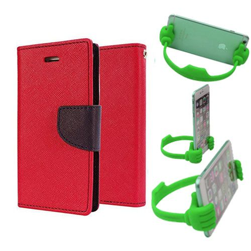 Wallet Flip Case Back Cover For Sony Xperia E3-(Red) + Flexible Portable Thumb Ok Stand Holder By Style Crome store