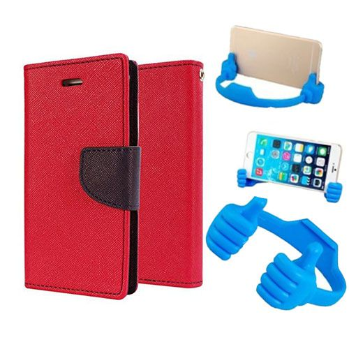 Wallet Flip Case Back Cover For Samsung G850-(Red) + Flexible Portable Thumb Ok Stand Holder By Style Crome store