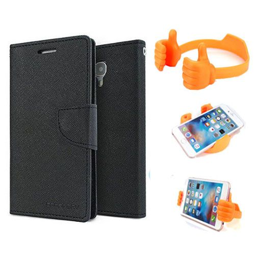 Wallet Flip Case Back Cover For Sony Xperia Z ultra -(Black) + Flexible Portable Thumb Ok Stand Holder By Style Crome store