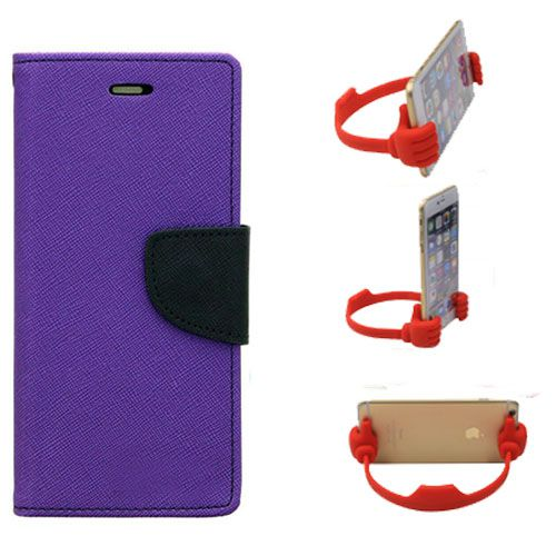 Wallet Flip Case Back Cover For Samsung E5-(Purple) + Flexible Portable Thumb Ok Stand Holder By Style Crome store