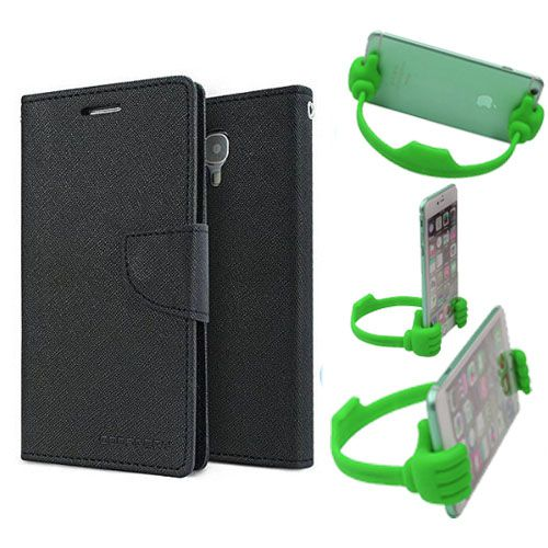 Wallet Flip Case Back Cover For Samsung Note 3 -(Black) + Flexible Portable Thumb Ok Stand Holder By Style Crome store