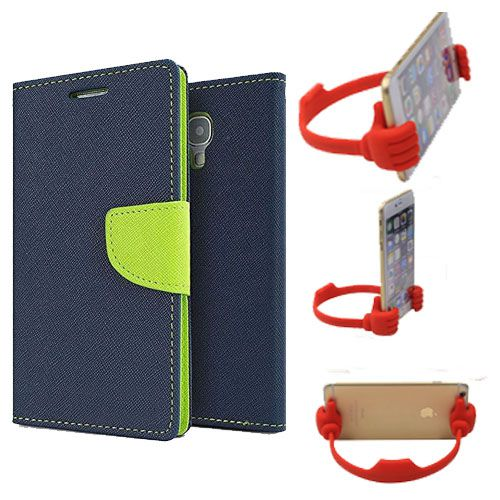 Wallet Flip Case Back Cover For Asus Zenfone 2-(Blue) + Flexible Portable Thumb Ok Stand Holder By Style Crome store