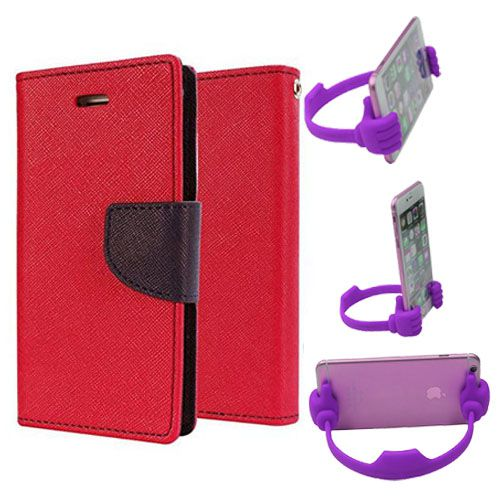 Wallet Flip Case Back Cover For Micromax Uuphoria-(Red) + Flexible Portable Thumb Ok Stand Holder By Style Crome store