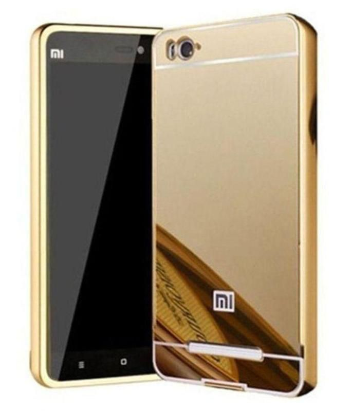 Style Crome Metal Bumper + Acrylic Mirror Back Cover Case For RedmiMi4i   Gold + Flexible Portable Thumb OK Stand