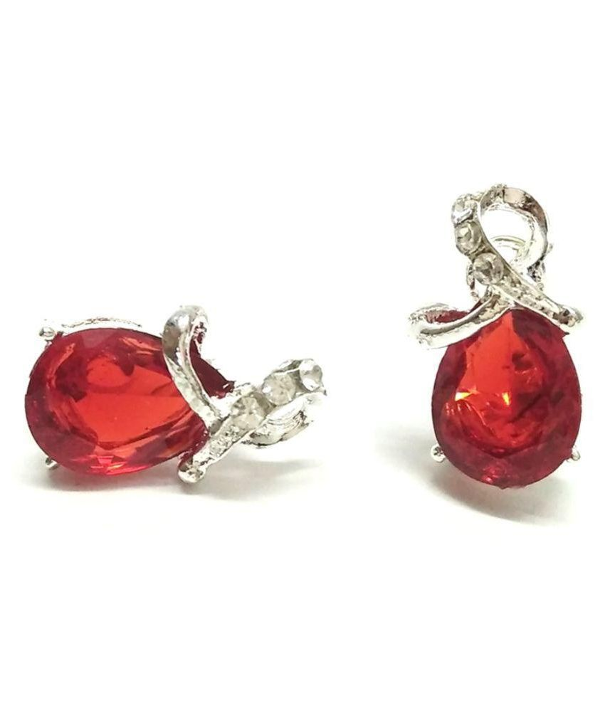 GoldNera Crystal Studded Red Studs Earrings