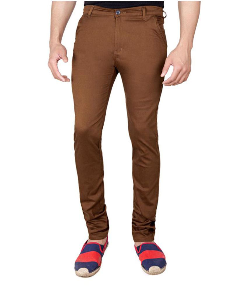 Giftsnfriends Brown Slim Flat Trouser