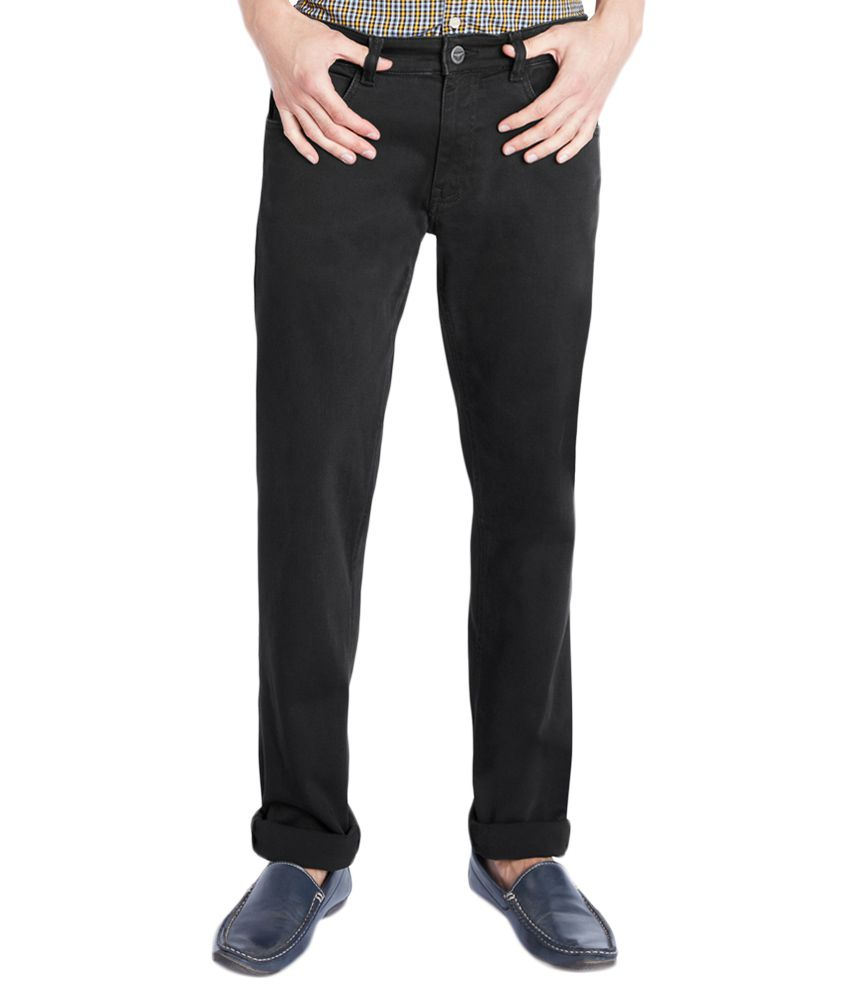 Park Avenue Black Low Rise Tapered Fit Jeans
