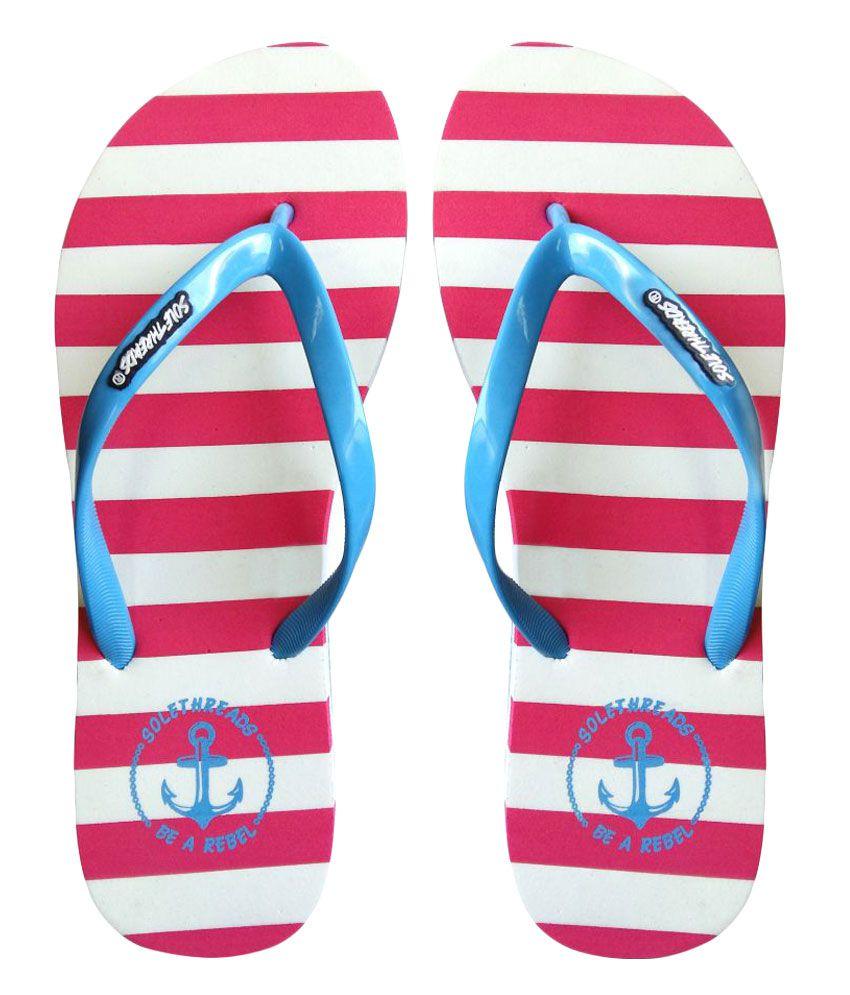 Sole Threads Pink & Blue Flip Flops