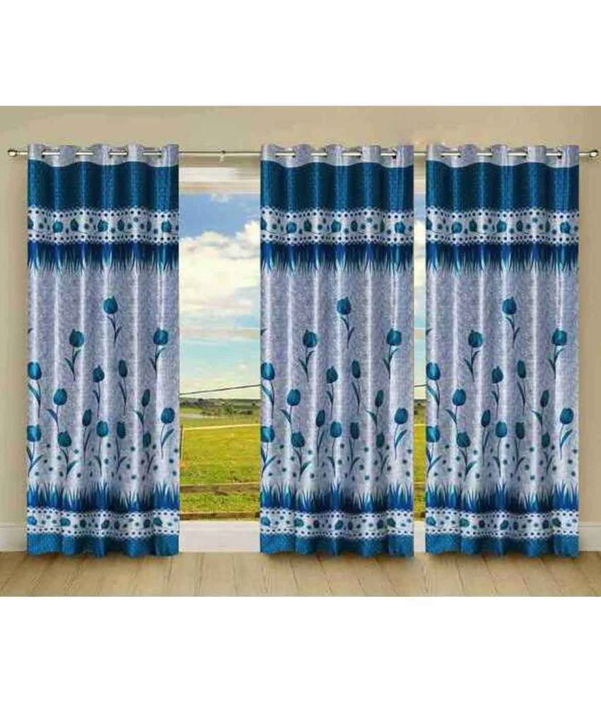 Stella Creations Set of 3 Door Eyelet Curtains Floral Multi Color