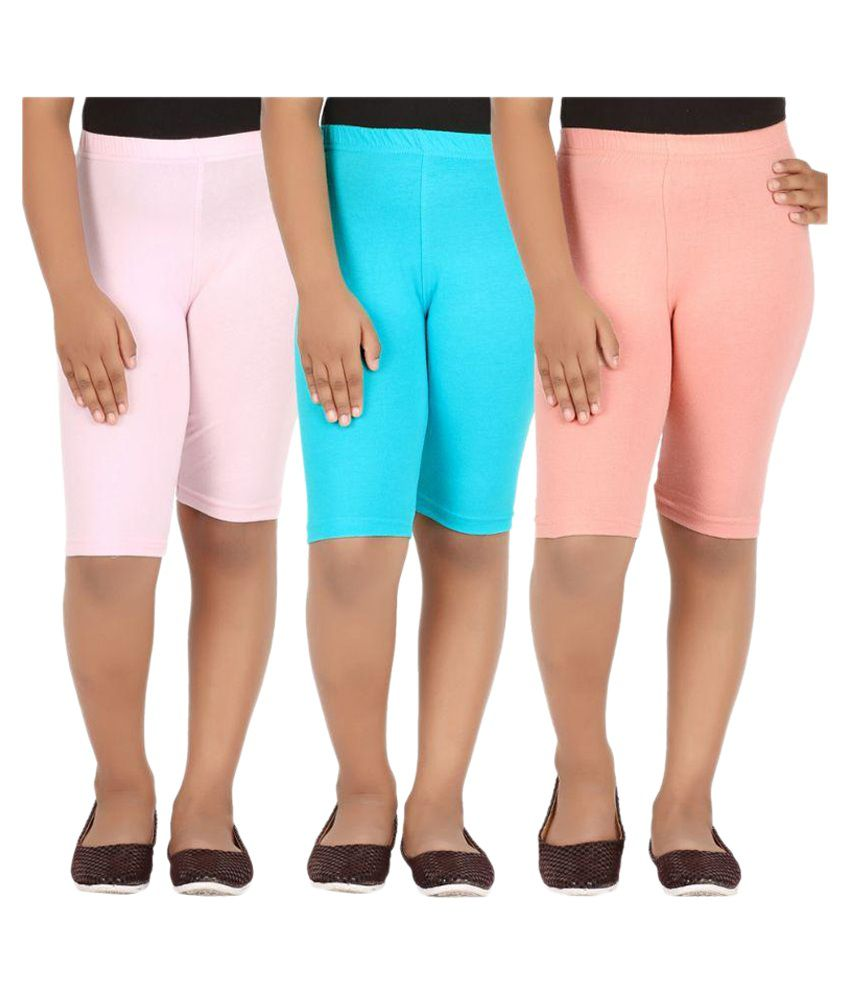 Knit ABC Multicolor Cotton Shorts - Pack of 3