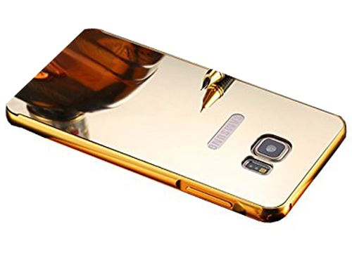 Style Crome Luxury Metal Bumper + Acrylic Mirror Back Cover Case For Vivo Y37 + Mini Aux wired Selfie Stick.