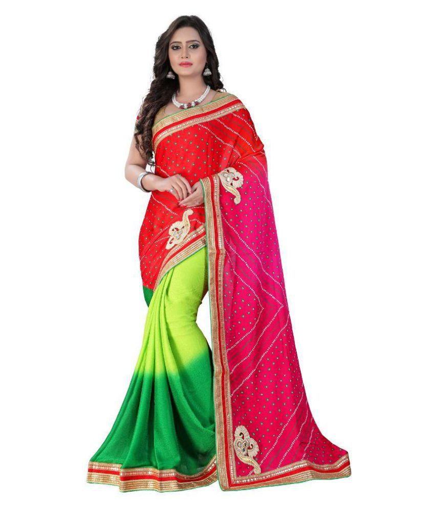 Shangrila Designer Multicoloured Georgette Saree