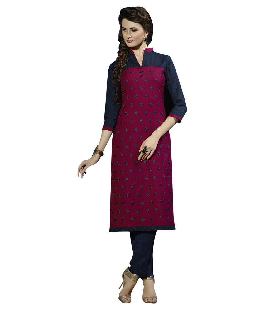 The Fashion Outlets Pink Cotton Straight Kurti