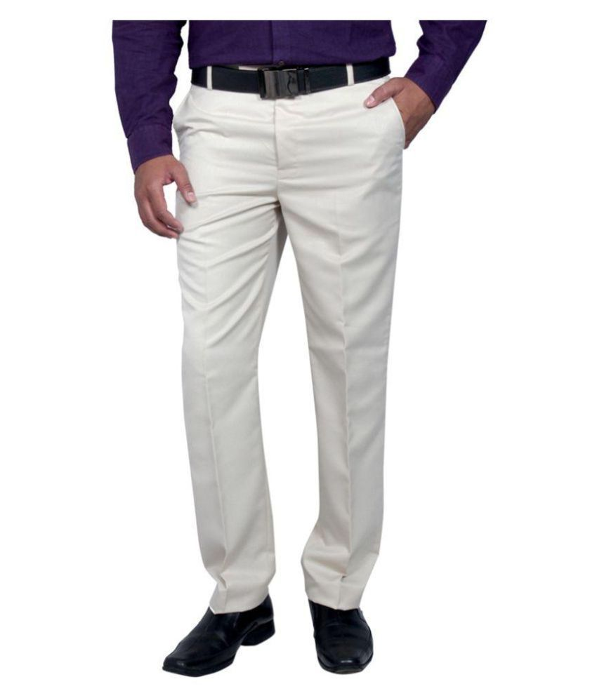Vandnam Fabrics Off White Regular Pleated Trouser