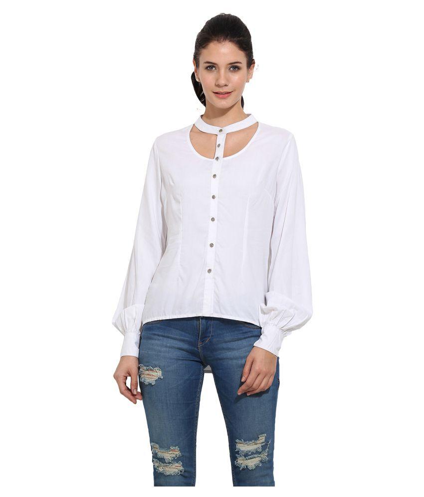Primo Knot White Rayon Shirt