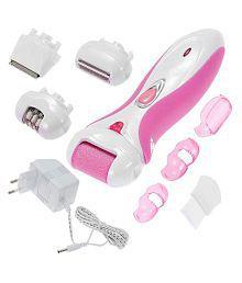Jm Rechargeable 4 in 1 Epilator Ladies Washable Cordless Electric Shaver Trimmer Razor callus remover Epilator Foil Shaver ( Pink & White )