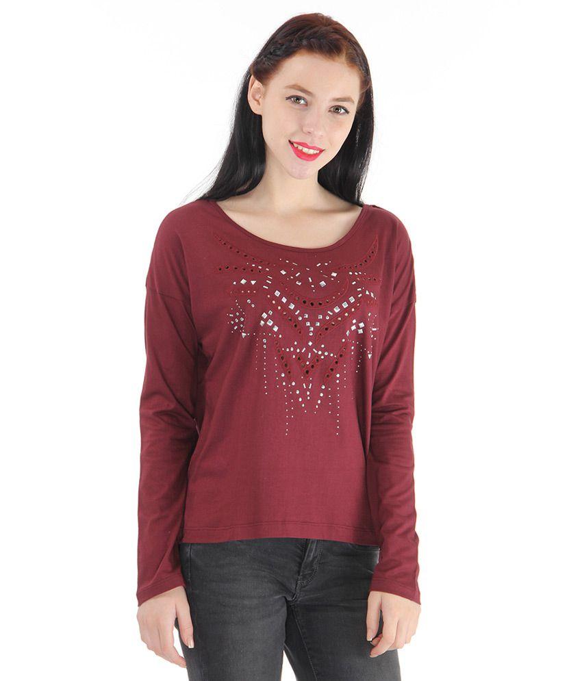 buy pepe jeans maroon embellished t shirt online at best. Black Bedroom Furniture Sets. Home Design Ideas