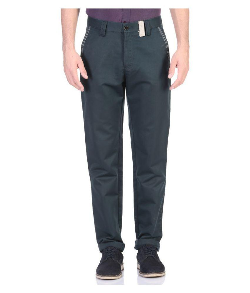 Vandnam Fabrics Dark Green Slim Flat Trouser