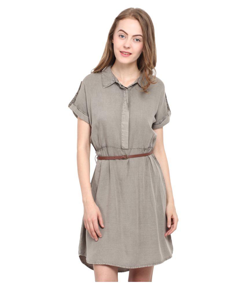 Free & Young Beige Viscose Asymmetric dress