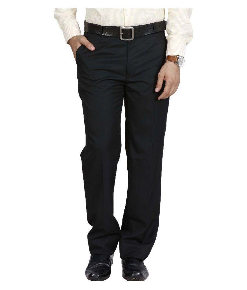 Mchenry Black Regular Flat Trouser