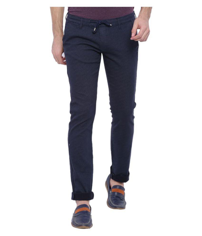 Bandit Navy Blue Slim Flat Trouser