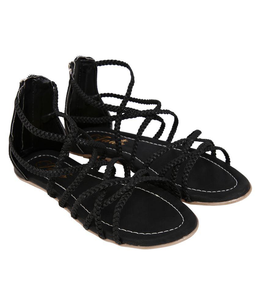 Jade Black Flats