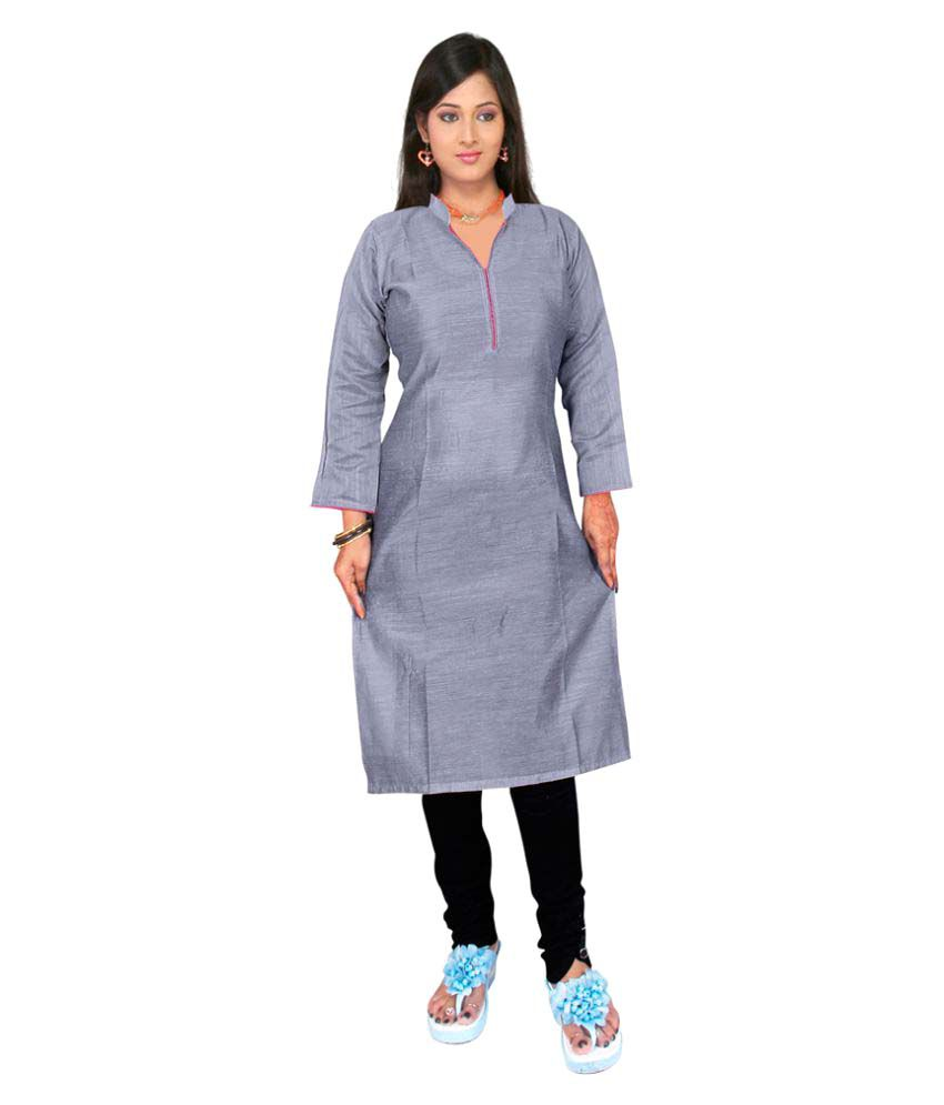 Sanju  Grey Cotton Straight Kurti
